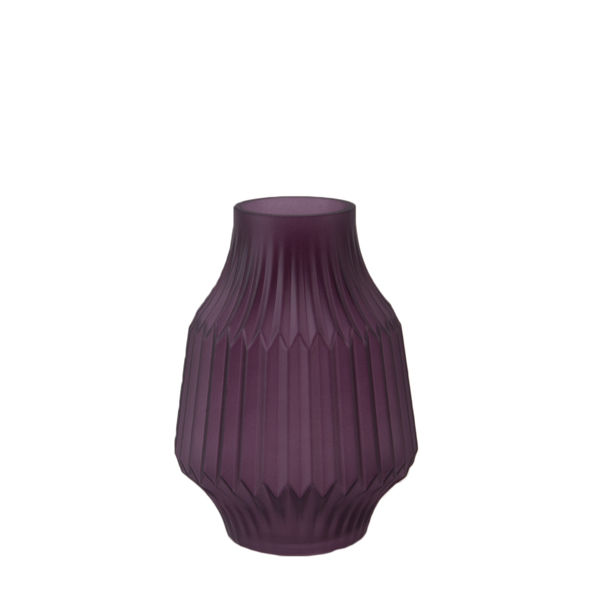 "Present Time, Glas-Vase ""STRIPES"", 19cm, purple"